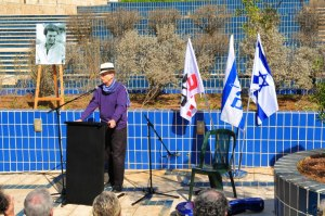 Prof. Yaron Ezrahi speaking at Emil Grunzweig's 30 year commemoration.Photo by Peace Now