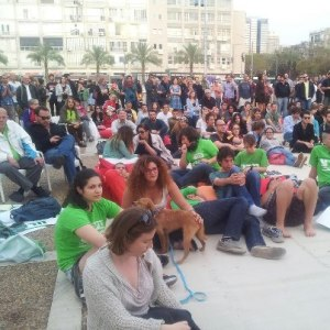 Watching Obama's speech in Rabin square. From Peace Now facebook page.
