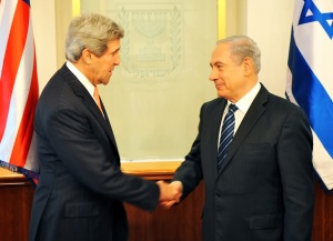 U.S. Secretary of State John Kerry is greeted by Israeli Prime Minister Benjamin Netanyahu prior to their meeting in Jerusalem on May 23, 2013. [State Department Photo/ Public Domain]
