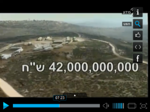 Estimated cost of removing settlements (Israel Channel 2 news, screenshot)