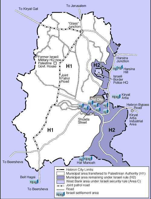 Hebron map. Source: Peace Now website.