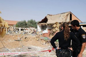 House destroyed by rocket in Beersheva. Photo by Herzl Yoseph