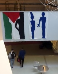 People on flags. Design by Ariel Katz, produced with her by John and Hazel Varah from Same Sky.