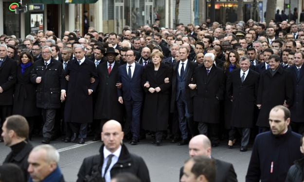 Heads of state take part in the march. Photograph: Eric Feferberg/AFP/Getty Images